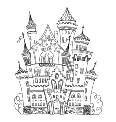 Castle coloring book for adults and children vector