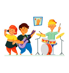 children performing music - colorful flat design vector image