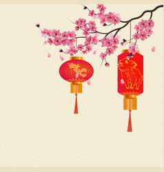 Chinese new year two red lights on branch vector