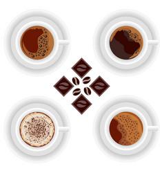 coffee cups chocolates espresso and cappuccino vector image