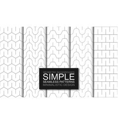 collection minimalistic seamless outline vector image