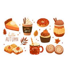 collection pumpkin spice seasonal flavored vector image