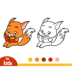 Coloring book fox with a book vector