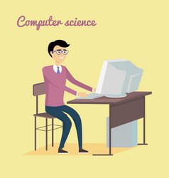 Computer science concept in flat style design vector