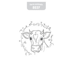 Cow hand-drawn vector