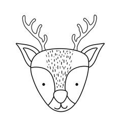 Cute christmas reindeer head character vector