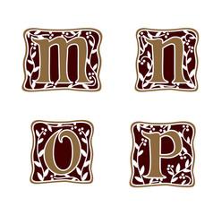 decoration letter m n o p logo design concept vector image