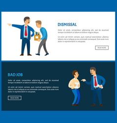 dismissal of worker for bad job posters vector image