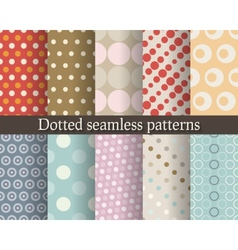 Dotted seamless patterns set vector image