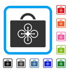 Drone toolcase framed icon vector