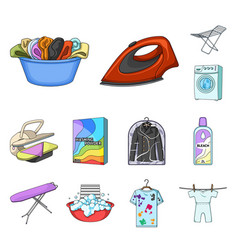 Dry cleaning equipment cartoon icons in set vector