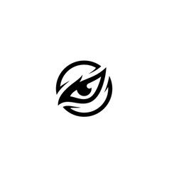 eagle eyes bird hawk animal black circle logo vector image