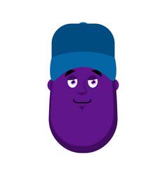 eggplant plumber in blue cap emoji avatar vector image