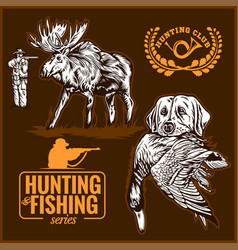 Elk hunting hunting logo hunting dog with a wild vector