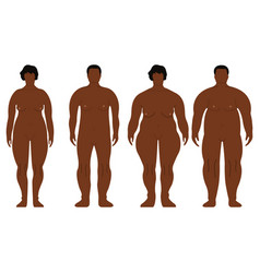 fat african men and women cartoon outline style vector image