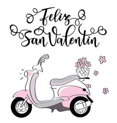 Feliz san valentin lettering motivation poster vector