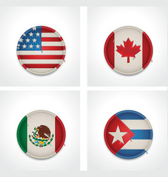 flags countries as fabric badges vector image