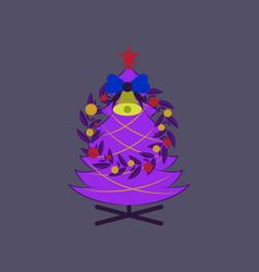 Flat on background of christmas fir wreath vector