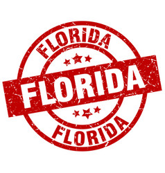 Florida red round grunge stamp vector