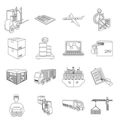 forklift cargo plane goods documents and other vector image