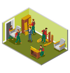 Furniture delivery isometric composition vector