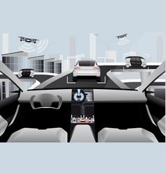 Futuristic self driving car vector