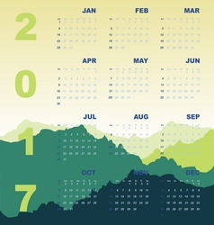 Green mountain view of 2017 calendar vector
