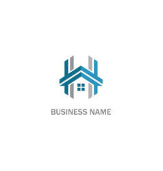 h initial home sign logo vector image