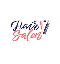 Hair salon logo beauty lettering custom vector