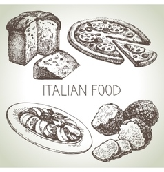 Hand drawn sketch Italian food set vector image