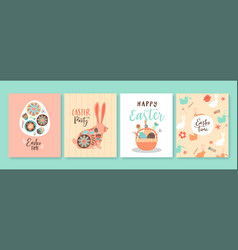 happy easter cute spring rabbit card set vector image