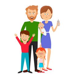 happy family standing over white background vector image