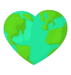 Heart earth icon cartoon style vector