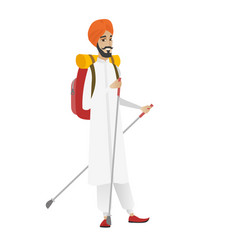 Hindu man hiker walking with trekking sticks vector