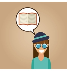 Hipster girl open book vintage background vector