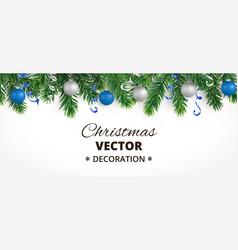 Horizontal christmas banner with fir tree garland vector