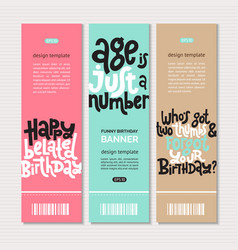 Irreverent birthday web or print banners design vector