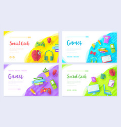 It geeks brochure card set office professional vector