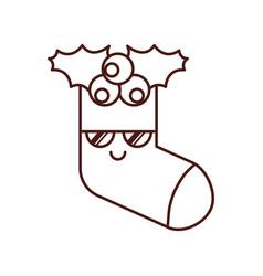 kawaii christmas sock gift decoration design vector image