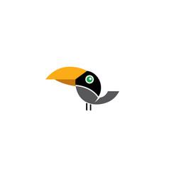 Keel billed toucan black bird with yellow beak vector