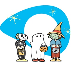 Kids in Halloween Costume vector image vector image