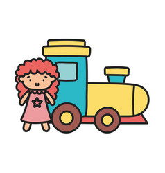 kids toy rubber train and pink little doll toys vector image