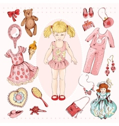 Little girl character accessories set vector