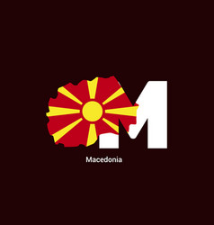 Macedonia initial letter country with map and vector