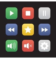 Multimedia flat design icons set vector image