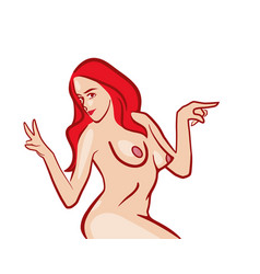 Nude girl topless showing to side space for vector