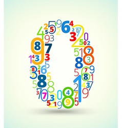 Number 0 colored font from numbers vector
