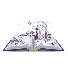 Open book tale of bremen musicians vector