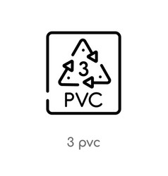 Outline 3 pvc icon isolated black simple line vector
