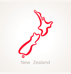 outline map of new zealand marked with red line vector image